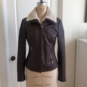 Ted Baker Leather Jacket with Shearling Collar